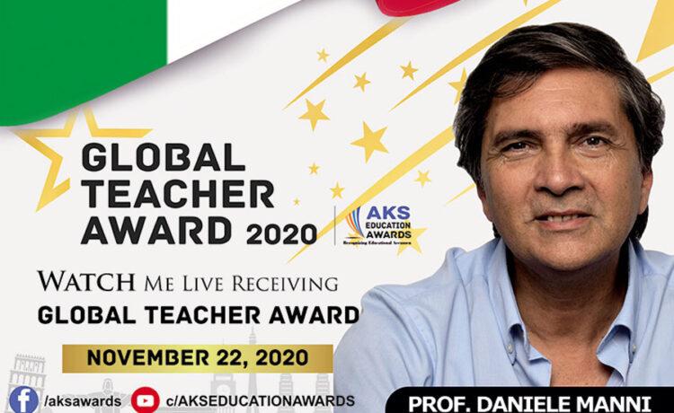 """Il prof. Manni ha vinto Il """"Global Teacher Award"""" grazie anche a """"Mabasta"""" e """"1000 a 0"""""""